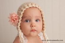 7 month girl in bonnet