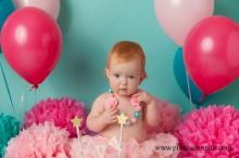 pink and teal cake smash